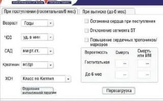 шкала грейс при окс калькулятор на русском скачать